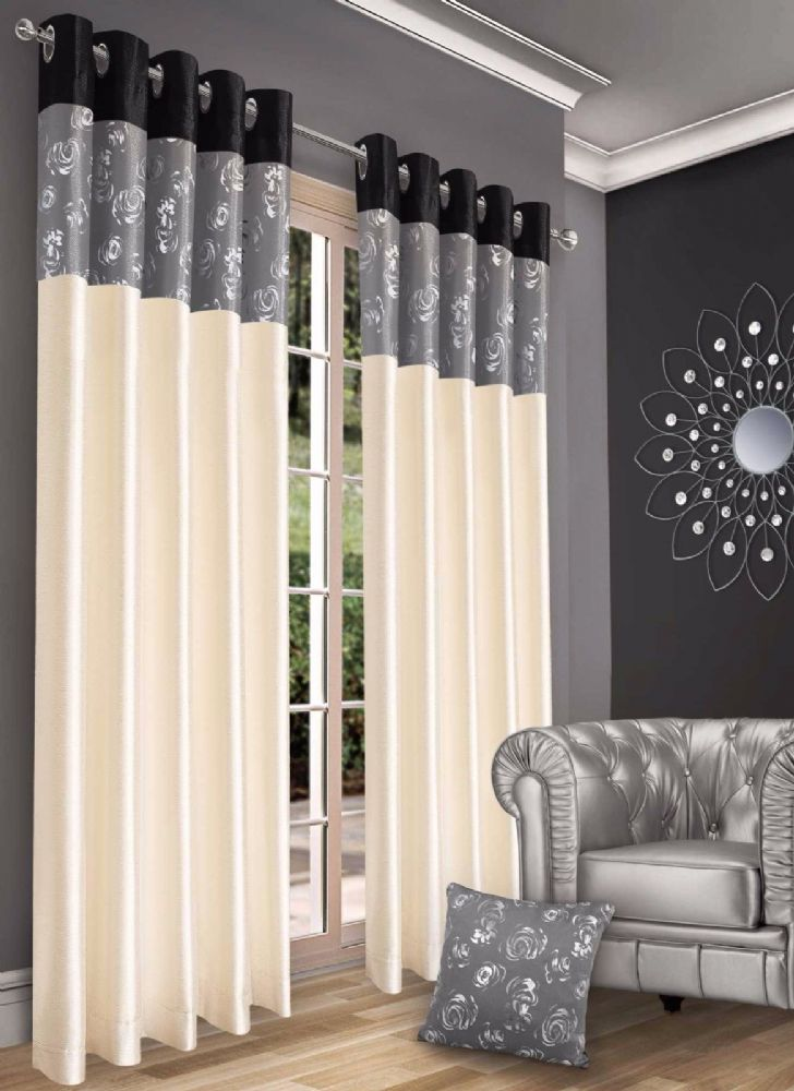 STYLISH CONTEMPORARY FAUX SILK RINGTOP EYELET LINED METALLIC FLORAL CURTAINS BLACK & GREY COLOUR